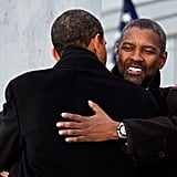 In January 2009, President Obama and Denzel Washington hugged it out in front of the Lincoln Memorial during the inaugural celebration in Washington DC.