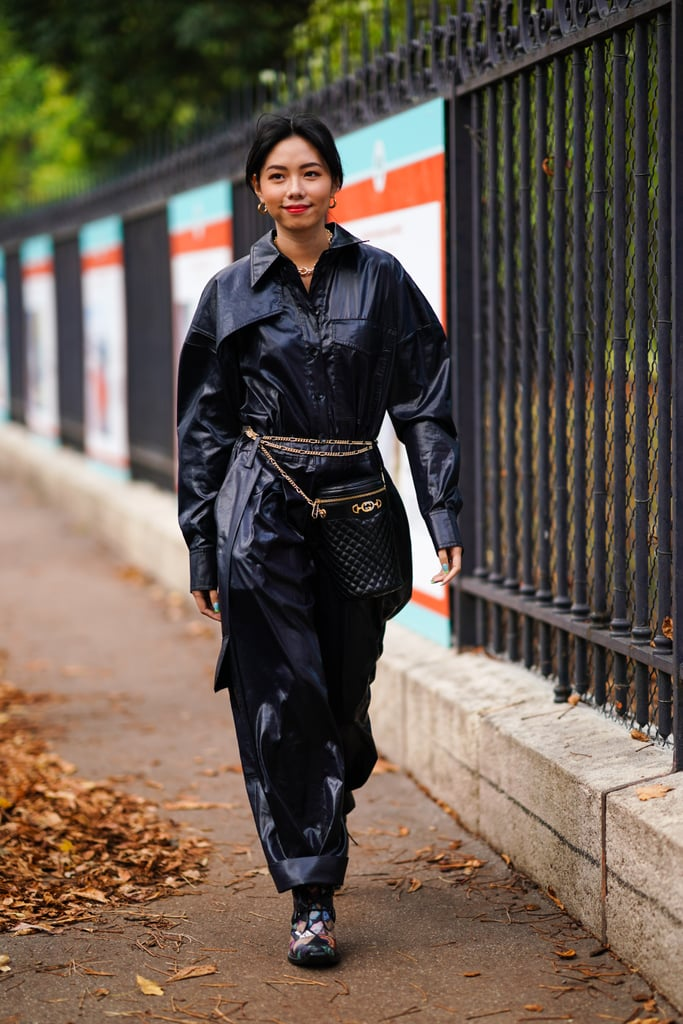 Leather Pants Outfit Idea: Full Leather Look + Fanny Pack