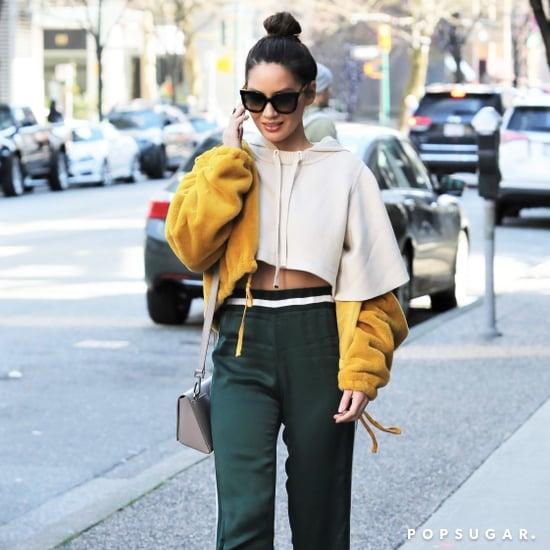 Olivia Munn Wearing a Beige Cropped Hoodie