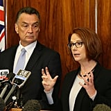 Julia Gillard and Transport and Main Roads Minister Scott Emerson spoke to media during a press conference in Sydney in May 2013 addressing Ford Australia's decision to cease production of vehicles in Australia from Oct. 2016.