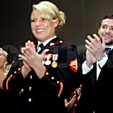 Justin Timberlake attended the Marine Corps Ball with Corporal Kelsey De Santis.