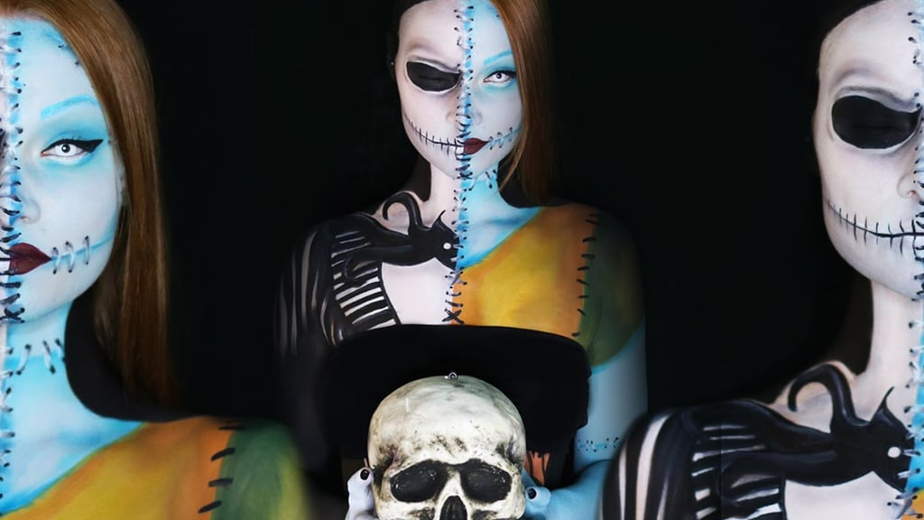 Christmas Halloween Makeup.Sally And Jack From The Nightmare Before Christmas 19 Halloween Makeup Tutorials You Have To