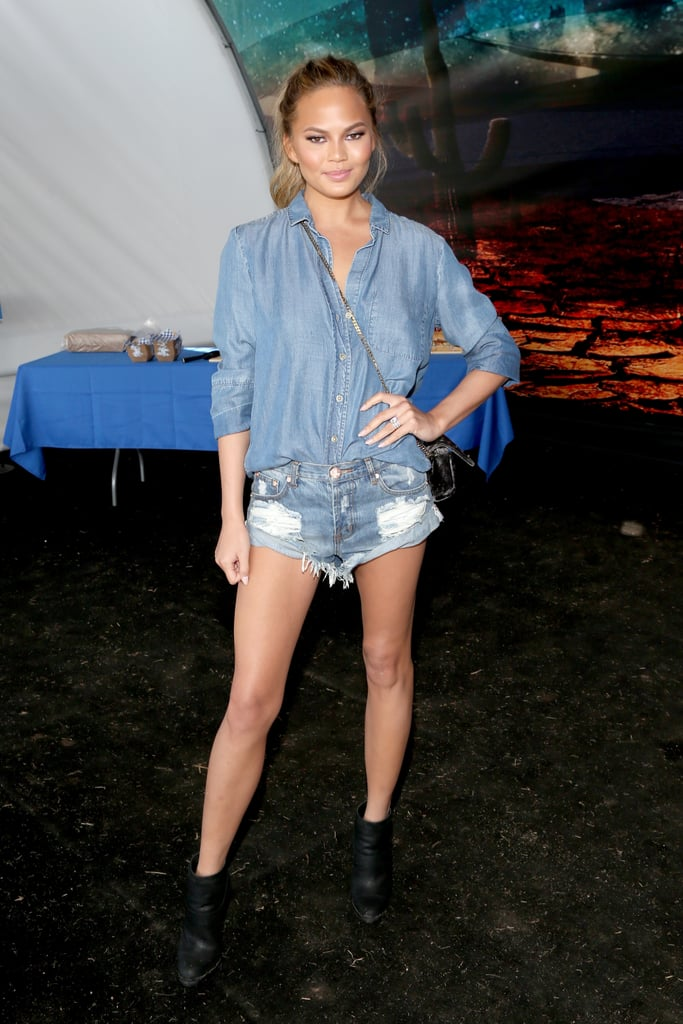 Chrissy Teigen knows doubling up on denim, and tripling those true blue hues, is a style win.