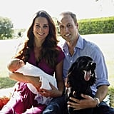 Kate, William, and George took one of their first family photos in August 2013 with Lupo and the Middletons' golden retriever, Tilly.