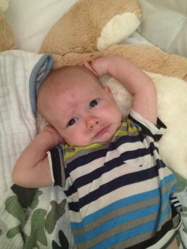 Hilary Duff's little guy, Luca, sported a striped tee and a funny frown. Source: Twitter user HilaryDuff