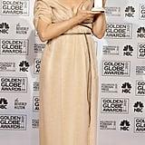 Meryl wore a blush seersucker chiffon gown by Carolina Herrera to the 2007 Golden Globe Awards.