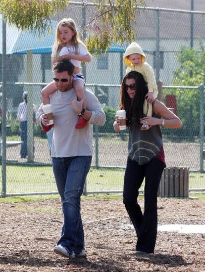 Brooke Shields and hubby Chris Henchy gave daughters, Rowan Frances and Grier Henchy shoulder rides at the dog park.<br />