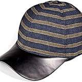 Marc Jacobs Striped Linen and Leather Cap