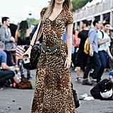 The graphic leopard print of this Planet Blue dress was a standout style statement on the festival grounds.