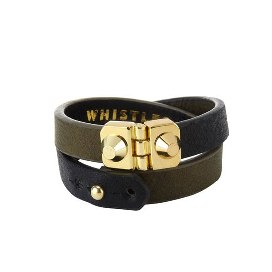 Not feeling this affectation for the armed forces? Try a sublter approach. Earn your stripes with a wrist wrap with both gold hardware + khaki leather. Cuff, approx $38, Whistles