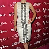 Olivia Wilde picked a chic black and white dress for the casual affair.