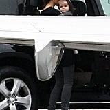 Victoria Beckham grabbed Harper Beckham before the two hit the sky.