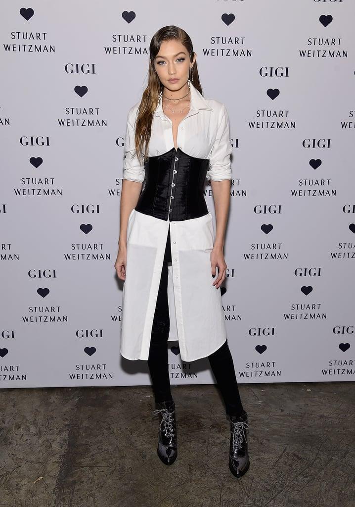 Gigi Wore the Iron Grey Boot to Her Stuart Weitzman Lauch