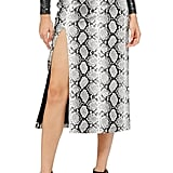 Topshop Snake Print Faux Leather Midi Skirt