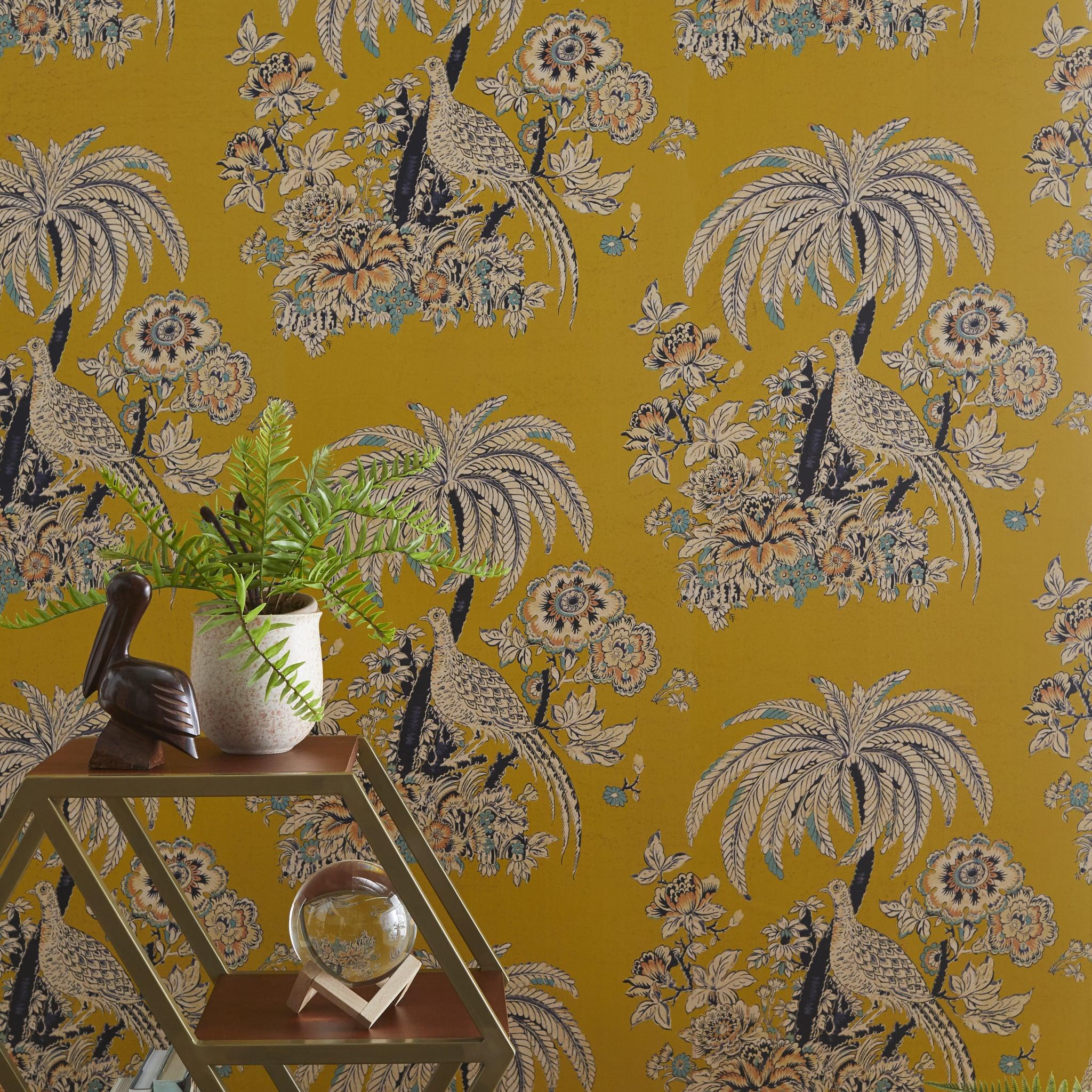 Yellow Tropical Toile Peel  Stick Wallpaper