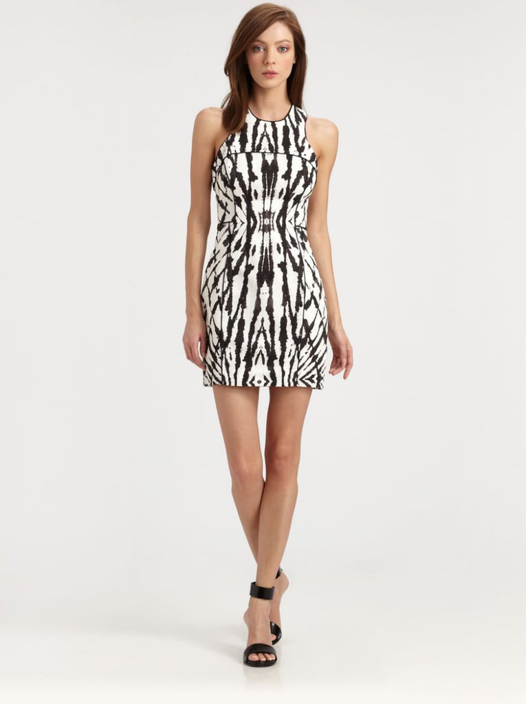 The bold print of Milly's sleeveless style ($375) has a similar vibe as casual ikat designs, but feels a bit more formal done in black and white.