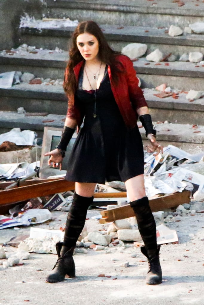 Here's Olsen in all her Scarlet Witch glory!