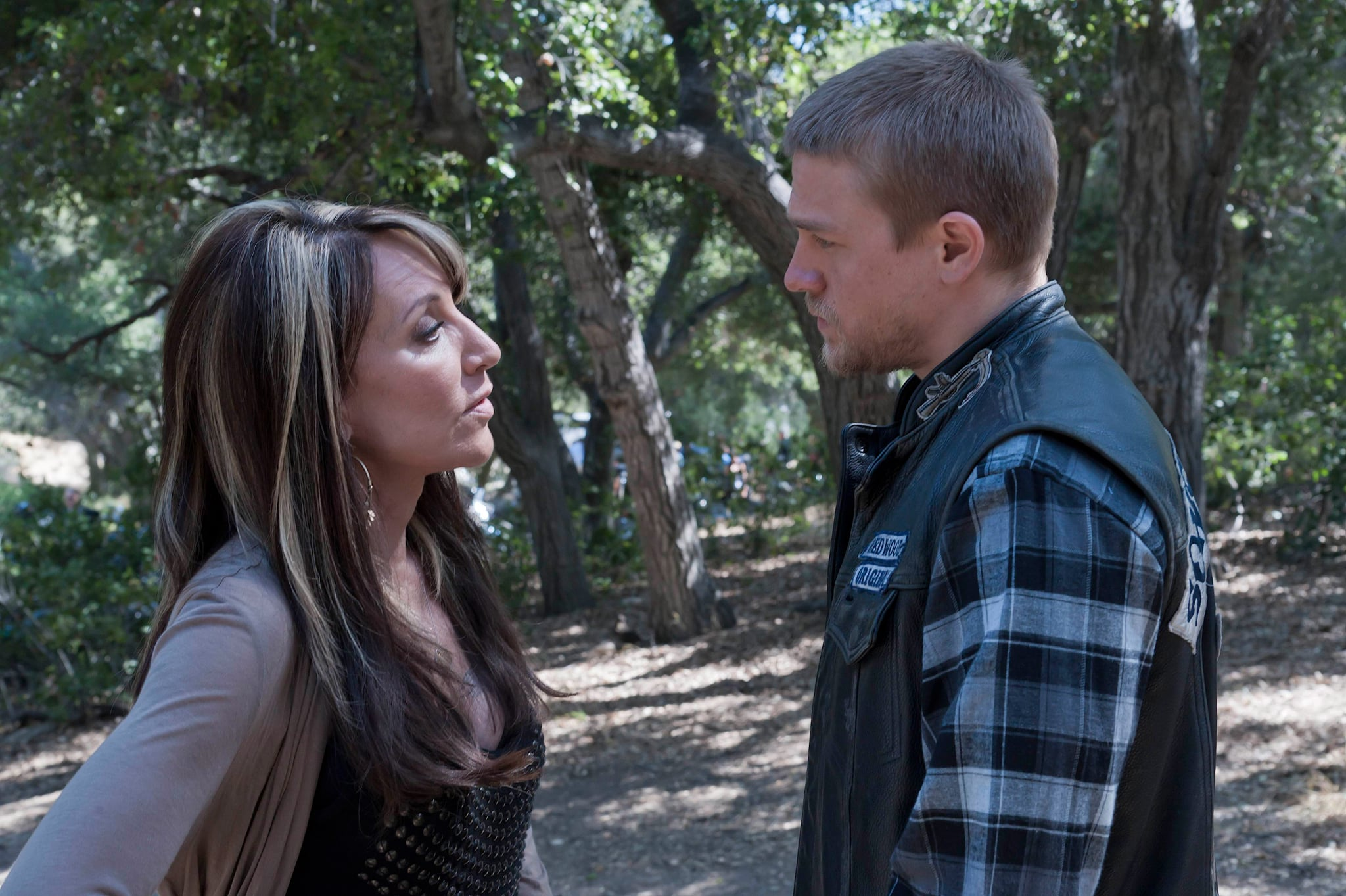 SONS OF ANARCHY, (from left): Katey Sagal, Charlie Hunnam, 'Out', (Season 4, ep. 401, aired Sept. 6, 2011), 2008-. photo: Prashant Gupta /  FX / Courtesy: Everett Collection