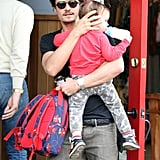 Orlando Takes Over Dad Duty as Miranda Jets to Australia
