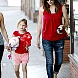 Jennifer Garner and Violet Affleck both wore red t-shirts while out in LA.