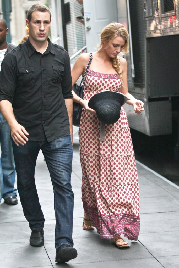 Blake Lively wore a maxidress on the set of Gossip Girl in NYC.