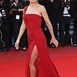 Salma Hayek wore a red gown with a thigh-high slit for the 2010 Cannes Film Festival.