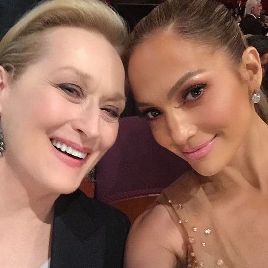 Ellen DeGeneres may have taken the ultimate Oscars selfie last year, but Jennifer Lopez was certainly doing her best to follow in Ellen's footsteps on Sunday night. During the show, J Lo got photobombed by a smiley Jennifer Aniston and Justin Theroux. Later, after Jennifer and Meryl Streep cheered for Patricia Arquette's acceptance speech about gender equality, the pair leaned in for one seriously cute selfie. See J Lo's best social media snaps from throughout the big night, then check out all the celebrities' best Instagram pictures from Oscars weekend!