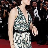 Kristen Stewart looked sexy in a printed gown for the On the Road premiere in Cannes.