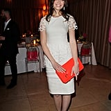 Mandy Moore looked lovely in Lela Rose, with a pop of tangerine on her clutch.