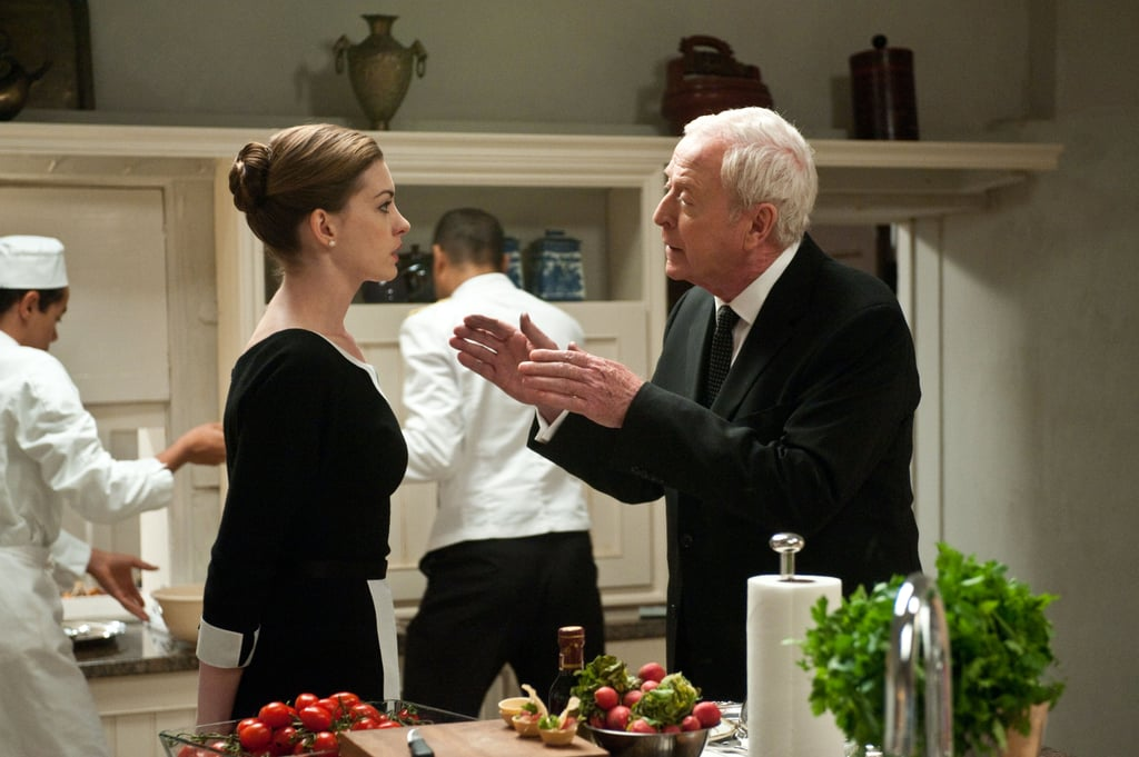 Anne Hathaway and Michael Caine in The Dark Knight Rises.