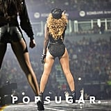 The rear view of Beyoncé's sporty getup — check out the awesome details: black leather glove and high-heeled booties.