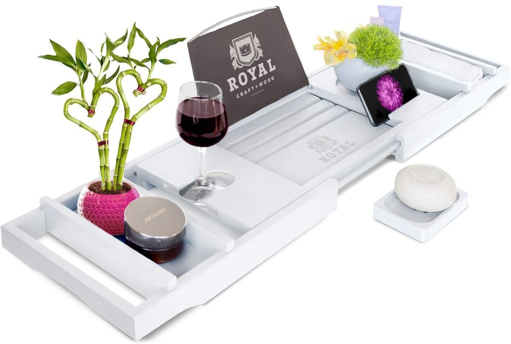Royal Craft Wood Bamboo Bathtub Caddy Tray With Wine and Book Holder
