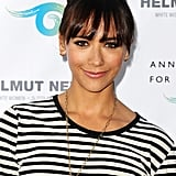 Attending a photography exhibit in California, Rashida Jones looked casual chic in a striped top paired with a voluminous topknot.
