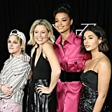Kristen Stewart, Elizabeth Banks, Ella Balinska, and Naomi Scott at a Photocall