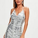 Missguided Silver Sequin Cowl Detail Romper