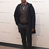 NFL player Victor Cruz looked dapper backstage at the Perry Ellis show.