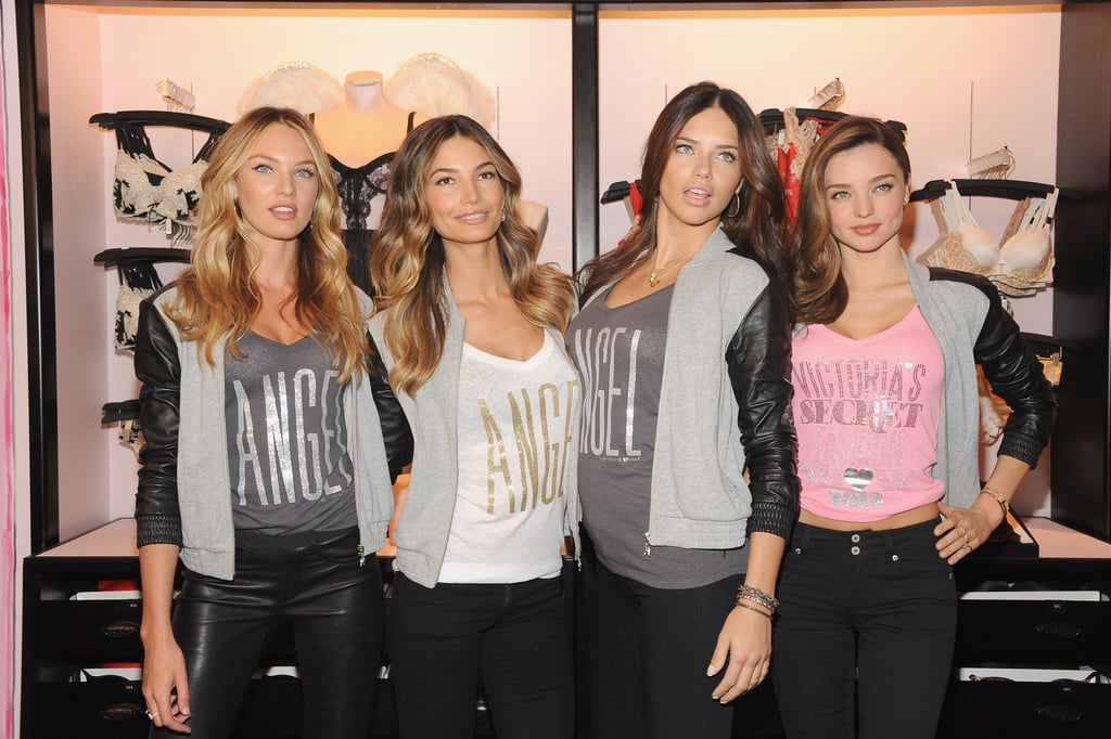 Miranda Kerr, Lily Aldridge, Adriana Lima, and Candice Swanepoel struck poses together at Victoria's Secret Herald Square in NYC.