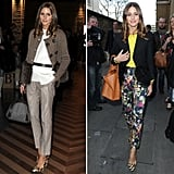 While Olivia Palermo's Mulberry heels add a pop of print to a more conservative Winter style, she proves they're also easy to mix and match with bold florals for Spring.