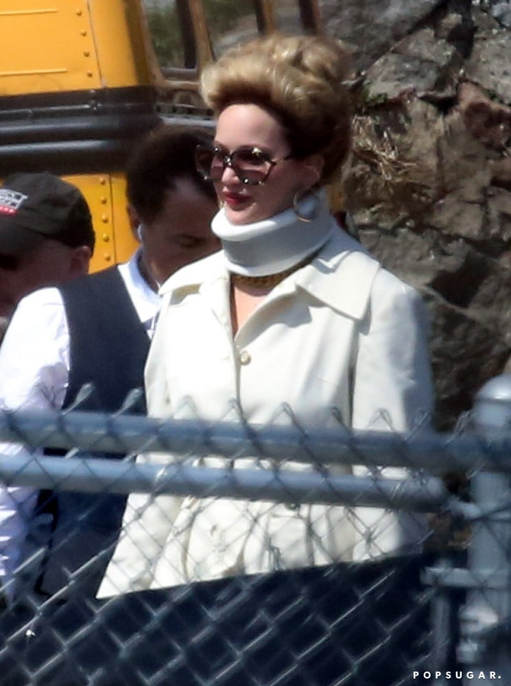 Jennifer Lawrence was spotted wearing a neck brace on the set of her untitled David O. Russell project in Boston today. Jennifer, who was decked out in 1970s retro fashion, chatted with costars Amy Adams and Christian Bale while shooting scenes in front of a yellow school bus. It appears the medical apparatus is merely part of her character's wardrobe since Jennifer was pictured throwing her head back and laughing later in the day — neck brace and all.  David O. Russell's all-star cast also includes Jeremy Renner, who was caught on set earlier in the day, and Bradley Cooper. Bradley managed to sneak away to Paris for a date with Suki Waterhouse while the rest of his costars kept up with their characters in the States. Even though he has a break currently, Bradley and Jennifer have not been confirmed to be on the guest list for the MTV Movie Awards on Sunday, where they are up for best onscreen duo, best kiss, and best musical moment as well in the male and female performance categories for their roles in Silver Linings Playbook. Jennifer fans will, however, get a big treat — the first teaser for Catching Fire is set to debut during the show.