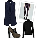 Play with your color combo skills and style up your basic black turtleneck with dark-plum leather skinnies, a navy vest, and moss-green platform oxfords.  Shop the look:  Topshop Knitted Merino Wool Roll Neck Top ($90) Proenza Schouler Suede Platform Loafers ($1,055) Romwe Single Button Suit Style Blue Vest ($49) Blank Faux-Leather Leggings ($52)