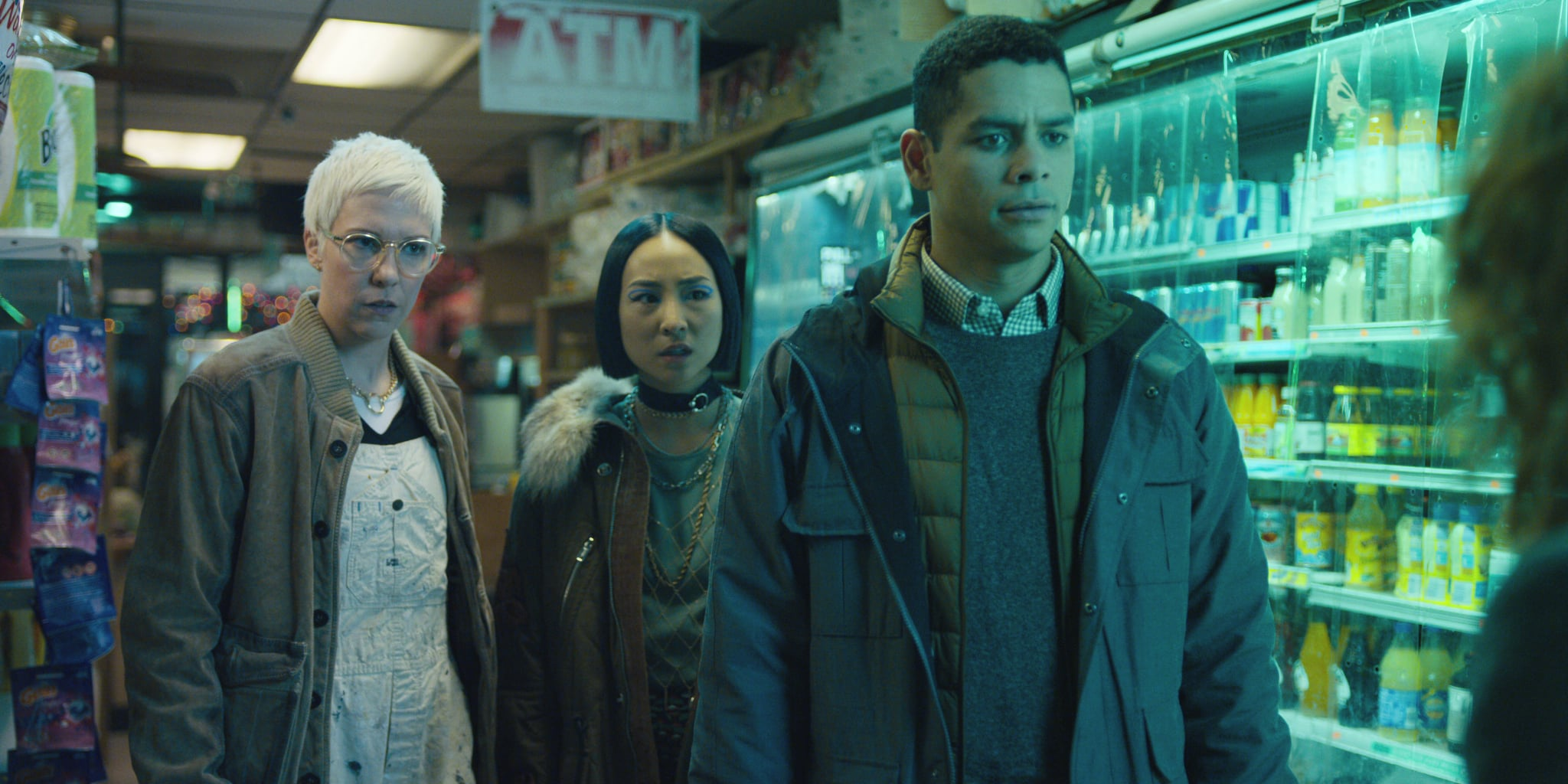 RUSSIAN DOLL, (from left): Rebecca Henderson, Greta Lee, Charlie Barnett, (Season 1, Episode 101, aired February 1, 2019), ph: Netflix / courtesy Everett Collection