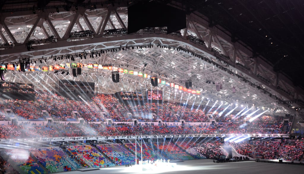 The arena was all lit up throughout the opening ceremony.