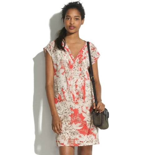 We couldn't resist this ultrapretty floral shiftdress — you can wear it with sneakers or boots and it will still retain its feminine feel and effortless vibe. For more shape, just cinch it with a brown woven belt. Madewell Silk Flowersketch Matchbook Dress ($175)