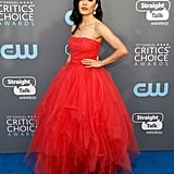 Walking the 2018 Critics' Choice Awards blue carpet in a stunning tulle gown by Galia Lahav.