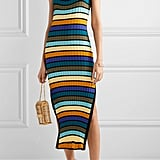Solid & Striped Striped Ribbed-Knit Midi Dress
