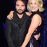 Kaley Cuoco cuddled up with her Big Bang Theory costar (and ex-boyfriend) Johnny Galecki.