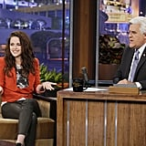 Kristen Stewart chatted with Jay Leno.