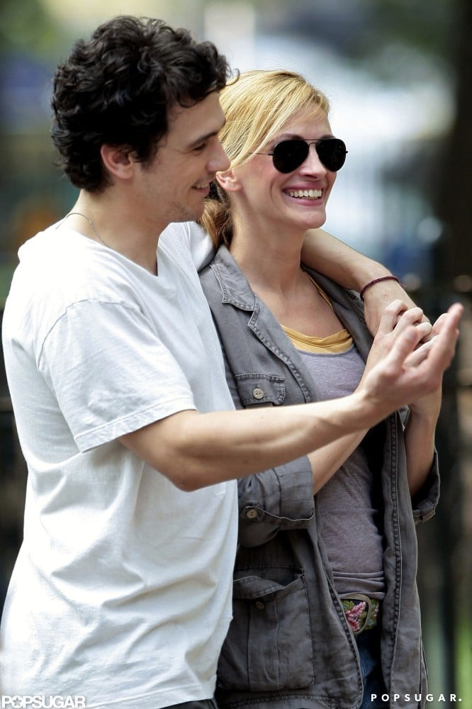 Julia joked around with James Franco on the NYC set of Eat, Pray, Love in 2009.