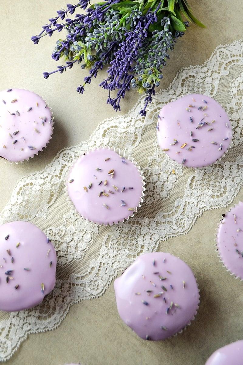 Flourless Chocolate-Lavender Cupcakes