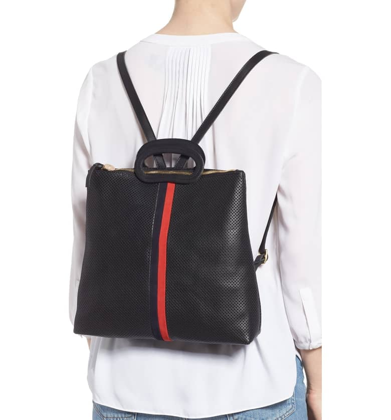 Clare V. Marcelle Perforated Leather Backpack